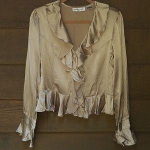 Bloomingdale's Golden 100% Silk Ruffled Blouse